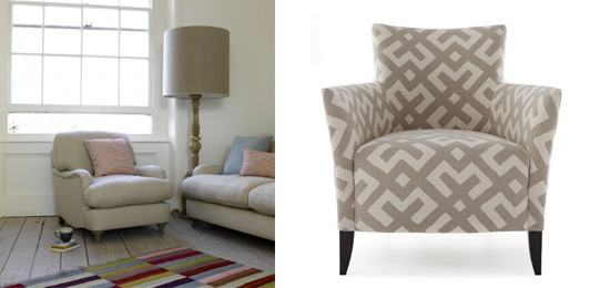 Jonesy armchair from Loaf (loaf.com) and Sail chair from the Sofa and Chair Company (sofaandchair.co.uk)