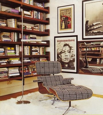 Classic Eames chair upholstered in plaid fabric (get similar from conranshop.co.uk)